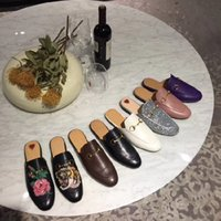 Wholesale black girl tiger for sale - Group buy Princetown leather slippers woman horsebit tiger flower embroidery slip on Love Stepping Mu Le shoe girl leather slippers