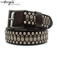 Wholesale big metal pin - ZAYG Punk high quality pin buckle belt hip hop personality metal big copper rivet belt jeans retro style leather waist seal