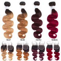 pelo de la onda del cuerpo 99j al por mayor-Paquetes del pelo indio crudo pre-coloreado 3 con el cierre 1b / 27 Ombre El pelo humano de la onda del cuerpo de T1B / 99J teje los paquetes con el cierre T1B / 30 T1B / BUG