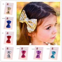 Wholesale gold baby lace hair resale online - Bling Hair Accessories Girls Gold Clips Casual Hair Clip Baby Girl Hair Bows Sequin Bows Valentine Bows