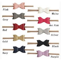 Wholesale fashion bow headbands - Fashion 5.5 inch Head Wrap Artificial Leather Litchi Stria Bows Nylon Soft Baby Girls Headband
