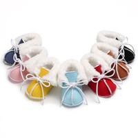 bebek giyim terliği toptan satış-FOCUSNORM Yeni Moda Bebek Kız Erkek Sıcak Çizmeler Patik Bebek Yürüyor Yenidoğan Kar Terlik