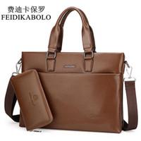 Wholesale Male Leather Briefcase - FEIDIKABOLO Fashion Men Handbags 14 inch Laptop Briefcase High Quality PU Leather Shoulder Bags Men Travel Bags bolsa Male Bags