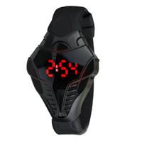 cobra negro animal al por mayor-Cobra Design Black Digital Watch Reloj deportivo de lujo con número rojo para hombre