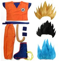 Wholesale dragon wig - Dragon Ball Z Clothes Suit Son Goku Cosplay Costumes Top Pant Belt Tail wrister Wig For Adult Kids 6 SIZE