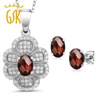серьги из стерлингового серебра оптовых-GemStoneKing 3.32Ct Oval Checkerboard Natural Red Garnet Vintage Jewelry Set For Women 925 Sterling Silver Pendant Earrings Set