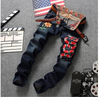 Wholesale Jogger Pants For Men Style - Wholesale- Brand Designer Mens Jogger Jeans With Embroidery Slim Fit Washed Denim Pants For Male Snake And Flower Patchwork Jean Trousers