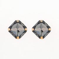 lustre noir achat en gros de-Bijoux de mode Big Stone Stud Earring Accessoires Bleu Foncé Strass Stud Boucles D'oreilles En Gros De Mariage Bijoux Cadeaux # E039