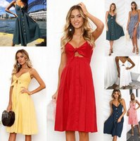 Wholesale clothing buttons wholesale - 7Colors Sexy Women V-neck Sleeveless Dress Party Cocktail Strapless Buttons Bowknot Foral Casual Backless Summer FFA299 Jogging Clothing