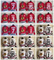 jersey phil esposito venda por atacado-Vintage Chicago Blackhawks clássico 3 Pierre Pilote 1 Glenn Hall 7 Phil Esposito Stan Mikita 35 Tony Esposito 9 Bobby Hull camisas de hóquei