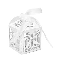 Wholesale Bird Wedding Candy - Wholesale- Bird Ribbon Paper Box Cage Wedding Favors Party Sweets Candy Box Gift Event Party Supplies 10PCS