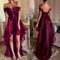 Wholesale open lower back short dress - 2018 Elegant Burgundy Sexy Off-Shoulder A-Line Prom Dresses Short Sleeves Lace Appliques High Low Open Back Long Plus Size Evening Gowns