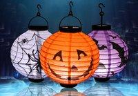 colores claros de calabaza al por mayor-Linterna de calabaza de Halloween, linterna de papel luminoso, linterna de mano, lugar de Halloween, accesorios, iluminación de Halloween, 4 colores 66