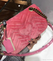 Wholesale Embroidered Flower Bag - Luxury Women Marmont Embroidered Velvet Crossbody Bag Flowers Gold Chain Medium Messenger Bags Female Shoulder Tote Bags Original Box