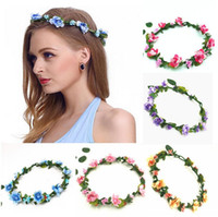 Wholesale lovely girl wholesale - Girls Sweet Lovely Simulation Flower Headband Wedding Princess Vacation Garland Bohemia Hair Accessories For Big Kids Bride DDA470