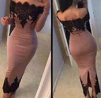 kurze spitze abendkleider getragen schwarze großhandel-Dusty Pink Black Lace bodenlangen Cocktailkleider 2018 Saudi Arabisch langen Ärmeln formale Abend Party Wear mit Split Short Prom Kleider