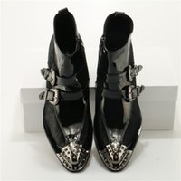 Wholesale iron man dress up - Pointed Toe Rivet Iron Head Breathable Men Leather Casual Zip Up Ankle High Boots Med Heel Buiness Party Dress Wedding Boots