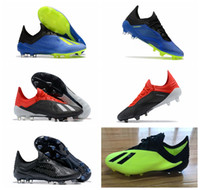 Wholesale cheap original cleats - 2018 mens soccer shoes X FG original Low Ankle soccer cleats Speedmesh X18 Messi Speed Mesh Outdoor football boots cheap