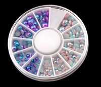 etiquetas da pérola da arte do prego venda por atacado-Moda Doce Cor Brilhante Metade Rodada Flatback Pérolas Nail Art Stickers Dicas 3D Unhas Decalques Decoração Roda
