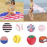 Wholesale flag mats - 150cm Diameter Round Beach Towel polyester Yoga Blanket Mat American Flag Flamingo softball round Tassels Bikini Cover Up LJJK902