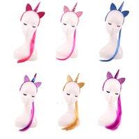 ingrosso kids wigs-Moda bambini ragazze Cosplay Unicorno sintetico parrucca treccia multicolor bambini trucco cosplay lungo rettilineo fascia regalo per bambini