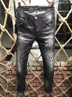 Wholesale dark jeans for mens - 9188 Jeans For Men Wholesale Gray Destroyed Mens Slim Denim Straight Biker Skinny Casual Long Ripped Jeans Free Shipping