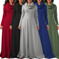Wholesale women s slim waist dress - Simple Style Saudi Arabia Round Neck Maxi Slim Waist Long Sleeve Muslim Women Ladies Fashion Clothing Casual Tunic Dress