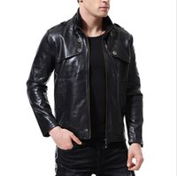 Wholesale jacket for cool online - Mens PU Motorcycle Jacket Cool Outwear Stand Collar Button Pocket Decorative Jacket For Men