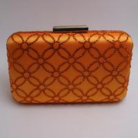 abend große taschen großhandel-Großhandelskapazitäts-größere Größen-Kristallharte Kasten-Kasten-Kupplungs-Abend-Tasche und Kupplungen orange