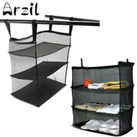 Wholesale Clothes Hanging Shelf - 3 Tier Mesh Wardrobe Hanging Bag Holder Collapsible Travel Organizer 50x30x58cm Black Luggage Clothes Shoe Shelf Storage Baskets