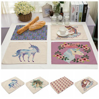 Wholesale Linen Placemats Wholesale - Coasters Unicorn Pattern Linen Table Placemats Rectangle Table Mat Dinner Insulation Pads Napkin For Kitchen Accessory OOA4175