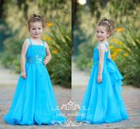 şirin şifon elbiseleri toptan satış-Sevimli Mavi Çiçek Kız Elbise Düğün İçin Spagetti Sapanlar Kristal Boncuklu Şifon Kat Uzunluk Prenses Bebek Çocuk Doğum Günü Partisi Elbise