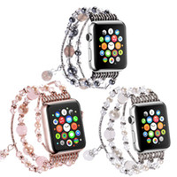 Wholesale watch band beads - Luxury Crystal Beads Watch Band Strap For Apple Watch Bracelet iWatch Series 1 2 3 Wristbands 38mm 42mm