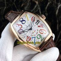 hora loca ver al por mayor-Nuevo Crazy Hours 8880 CH 5NE Color Dreams Reloj de hombre con esfera blanca automática Caja de oro rosa con correa de cuero para caballero Relojes deportivos