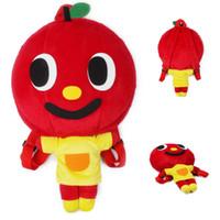 mochila de manzana al por mayor-Nuevas muñecas de dibujos animados de estilo Apple Mochilas de niños de felpa Rojo Cute school Shoulders Bag Mochila de niño al aire libre