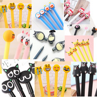 Wholesale cute kawaii pens - 4pcs lot 0.38mm Cute Cartoon Gel Ink Pen Maker Pen School Office Supply Black Signature pen Kawaii students' gift