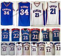 e51358952d16 Mens Kansas Jayhawks Joel Embiid 21 Josh Jackson 11 Andrew Wiggins 22  College Basketball Jerseys Paul Pierce Wilt Chamberlain Stitched Shirt
