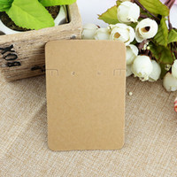 Wholesale necklace packaging cards - 100pcs 6.8*9.7cm No Pattern Kraft Paper Card Fashion Jewelry Necklace Packaging Card