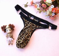 Wholesale gay mens underwear brands - 3pcs lot 2018 Brand new Leopard Mens Sexy Lingerie penis sheath underwear Mens large pouch g-Strings & thongs Gay lingerie
