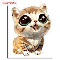dijital panel küçük toptan satış-HELLOYOUNG Dijital numaralar yağlı boya ile Handpainted Yağlı Boya Küçük Meng kedi Boyama çince kaydırma resimlerinde Ev Dekorasyonu