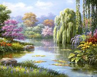 Wholesale Diy Oil Painting Art Home Wall Decor Beautiful View Tree Flower Ri X20 inches Embroidery Digital Oil Painting By Numbers Christmas Gift