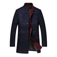 размер мандарина воротник куртка оптовых-Men's Casual Mandarin Collar Single Breasted Woolen Coat Fashion  Loose Comfortable Jacket Large Male Size 5xl 6xl 7xl 8xl