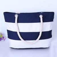 Wholesale wire rope bags resale online - Joker Rough Hemp Rope Handbags Woman Canvas Bag Fashion Single Shoulder Beach Bags Stripe Eco Friendly Shopping Bags zc ZZ