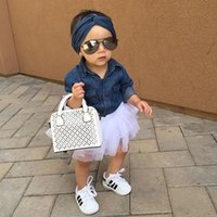 Wholesale cute kids tracksuit for sale - Group buy cute Baby Girl Denim Fashion Set Clothing Children girl Long Sleeve Shirts Top Shorts Skirt Bow Headband Outfits Kid Tracksuit
