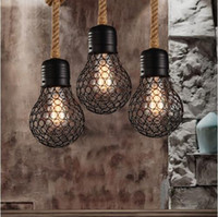 Wholesale Metal American - Vintage rope pendant light edison bulb American Style metal cage lamp restaurant dining room lights industrial bar lighting