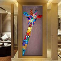 ingrosso mani libere africane-Mintura Dipinto ad olio con 100% dipinto a mano su tela per soggiorno - Pop Art Modern Cute giraffe Canvas FACE 4 size