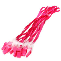 Wholesale Favor Games - 10 pcs lot Hot Pink Hen Party Game Fluffy Whistles with Strap Girls Night Out Bachelorette Party Decoration Game Favor Gifts