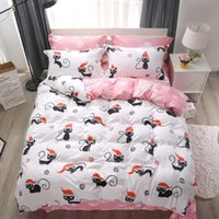 Wholesale christmas sheet sets queen for sale - Textiles Stylish Simplicity Christmas Pink Naughty Cat Cartoon Bedding Sets Contain Duvet Cover Bed Sheet Pillowcase