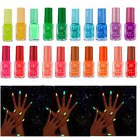 gel de uñas resplandor oscuro al por mayor-Serie de 20 colores de esmalte de uñas de gel de esmalte de uñas luminoso neón fluorescente para resplandor en oscuridad