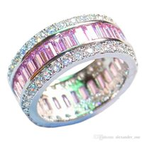 rings for bride Australia - Luxury 925 Sterling Silver Pink Topaz Pave setting full CZ Diamond Gemstone Rings Jewelry Wedding Bride Bands Ring For Women